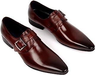 Business Leather Shoes,Men's Buckle Dress Shoes Urban Walking Work Banquet Formal Footwear,Brown-37