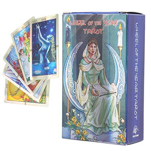 HAOX Tarotkarten, 78 Tarotkarten Deck Klassisches Design Schicksal Wahrsagerei Hologramm Papier Englisch, Langlebige Tarotkarten für Party, Zuhause