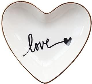 CHOOLD Original Ceramic Heart Shape Ring Dish Holder Jewelry Dish Trinket Holder Jewelry Holder Home Decor Dish Wedding Birthday Xmas Gift