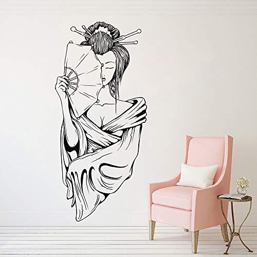 Pegatinas de vinilo de pared de canción y danza japonesas calcomanías de pared de retrato de arte femenino decoración del hogar creativa colores personalizables 42x91cm