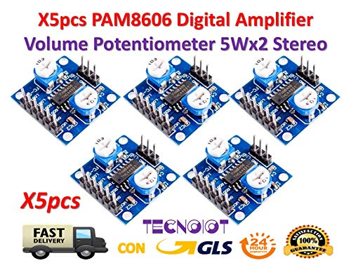 TECNOIOT 5pcs PAM8406 Digital Amplifier Board 5Wx2 Stereo with Volume Potentiometer