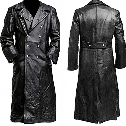WXZZ Abrigo largo de piel para hombre: estilo vintage medieval de piel sinttica con solapa, cortavientos, gtico, abrigo de piel sinttica, disfraz de cosplay, Negro , XXL