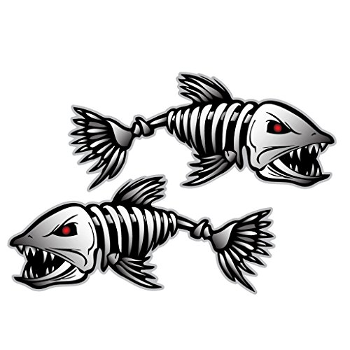 2pcs Negro Esqueleto Rojo Pescado Barco De Pesca Las Etiquetas Engomadas De Gráficos En Barco