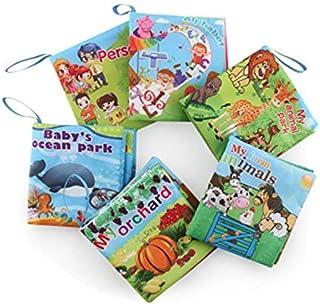 عدد 6 قطع من كتب القماش الناعمة للأطفال من سن 1-36 شهر. لعبة تعليمية للأولاد والبنات، بأنشطة تعتمد على اللمس والاحساس مصنو...