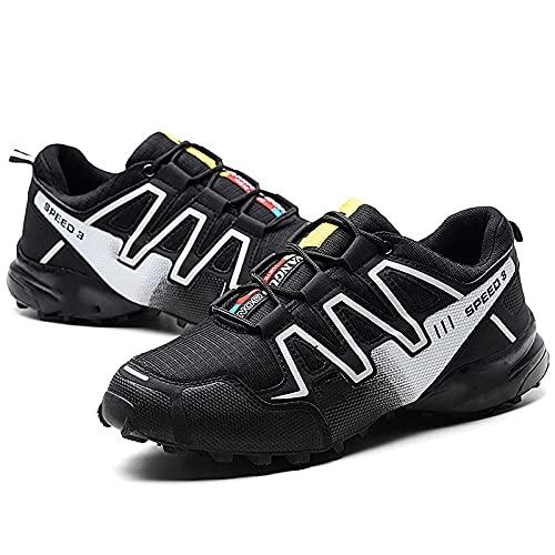 Fnho Calzado para Correr por Carretera,Zapatos de Gimnasia Zapatos Ligeros,Zapatos para Caminar a Campo traviesa, Zapatos para Correr de Ocio-Negro_43