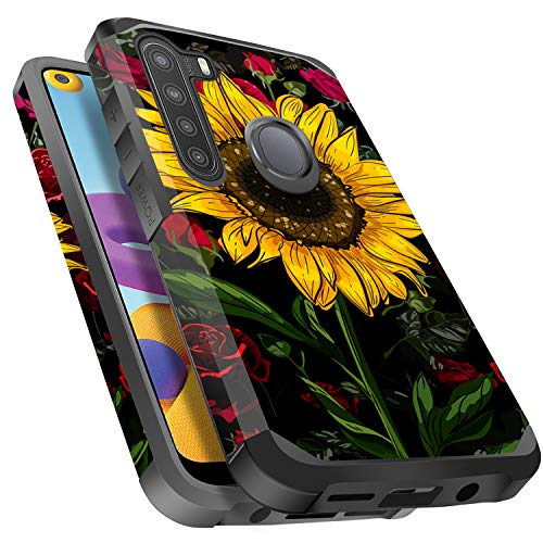 Galaxy A21 Case, Miss Arts Slim Anti-Scratch with [Drop Protection] Cute Girls Women Heavy Duty Dual Layer Protective Cover Case for Samsung Galaxy A21 -Rose Flower/Sunflower
