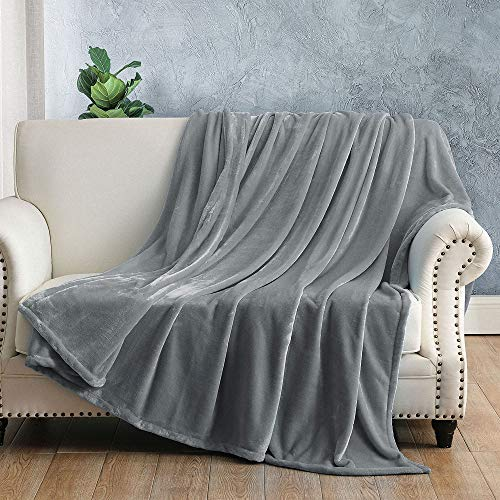 Jaoul Thick Warm Flannel Fleece Bed Blankets All Season Luxury Fuzzy Soft Heavy Cozy Velvet Throw Blanket for Winter Christmas Sofa Couch Car Travel Camping, Grey, Size 50 x 60 inch