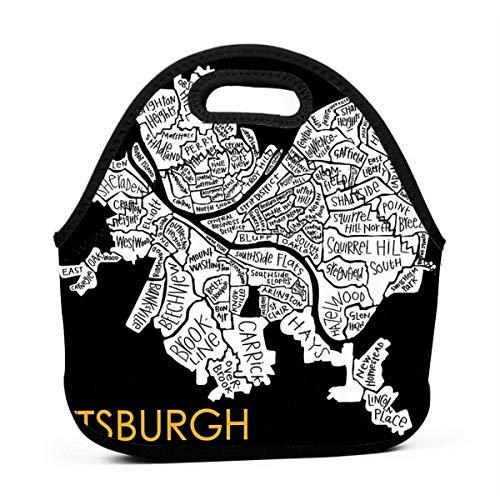 XCNGG Mapa del vecindario de Pittsburgh Hombres Mujeres Niños Bolsa de almuerzo aislada Tote...