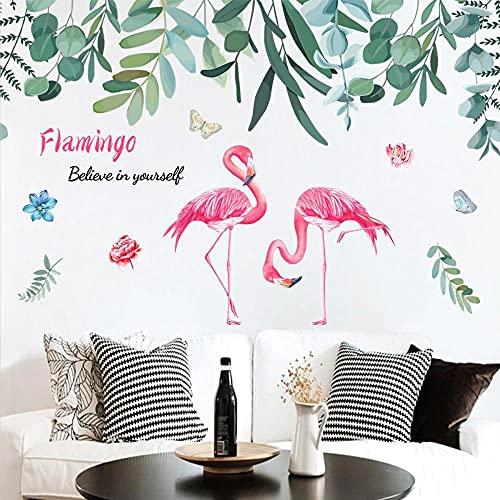 Planta Verde Flamingo Pink Girl Heart Dormitorio Junto A La Cama Dormitorio Arte Fresco Etiqueta De La Pared Nórdica