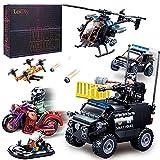 TRCS Jeu de police City 469 pièces 5 en 1 hélicoptère moto voiture de police Véhicule gonflable minifigurines pour SWAT Police Compatible avec Lego