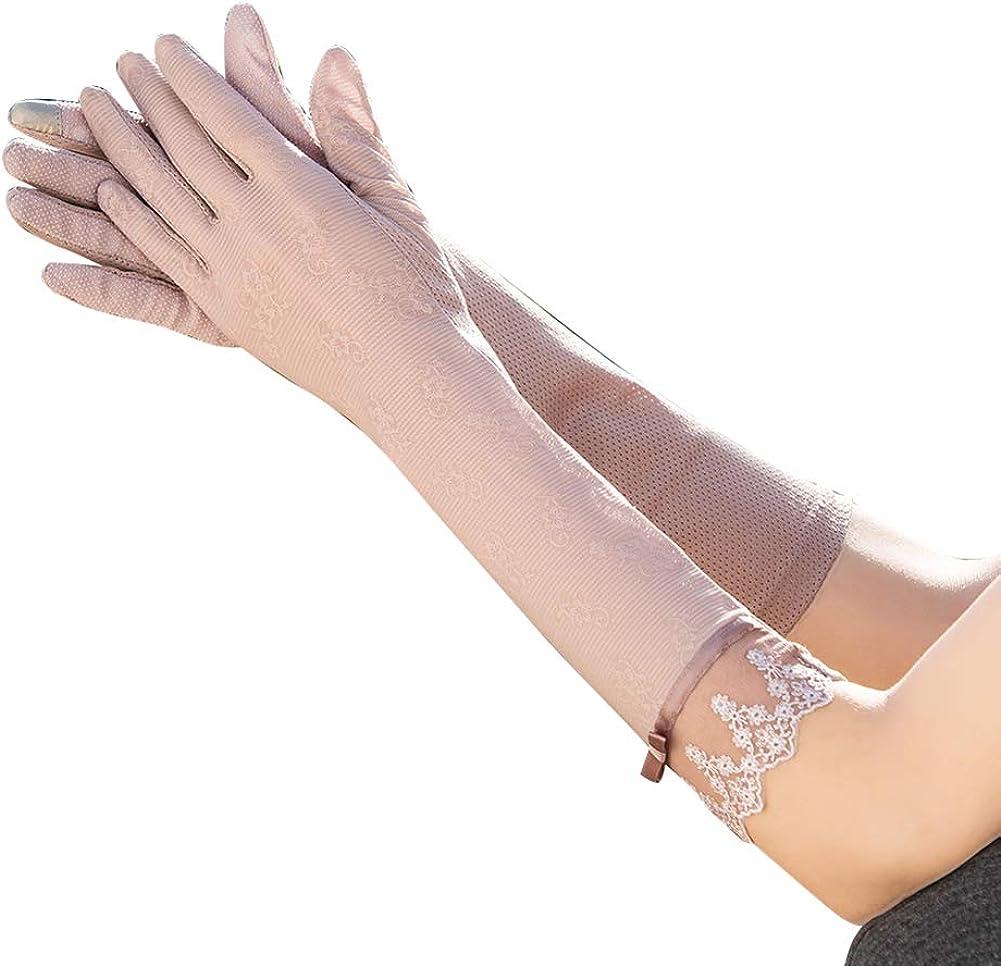 VIDOSCLA Lace Women Sunblock Gloves UV Protection Cotton Long Gloves Lace Unlined Gloves Bow Decoration Summer Short