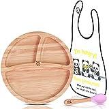 BABYLOVIT Plato para niños de bambú, con certificación TÜV, antideslizante, con ventosa, cubiertos para aprender a comer y babero, juego de vajilla para niños, cuenco de bambú