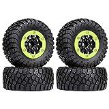 HOTSTORM 1/10 Rubber Tyres & Plastic Beadlock Wheel Rims for 1/10 Short-Drive Truck traxxas Slash 4x4 VKAR 10SC HPI