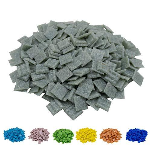 Mosaik-Profis Mosaiksteine versch. Farben (2x2 cm, 900g, ca. 340 St.) - buntes Mosaik ideal zum Basteln - Glasmosaik - keine Kunststoffverpackung (Grau 2)