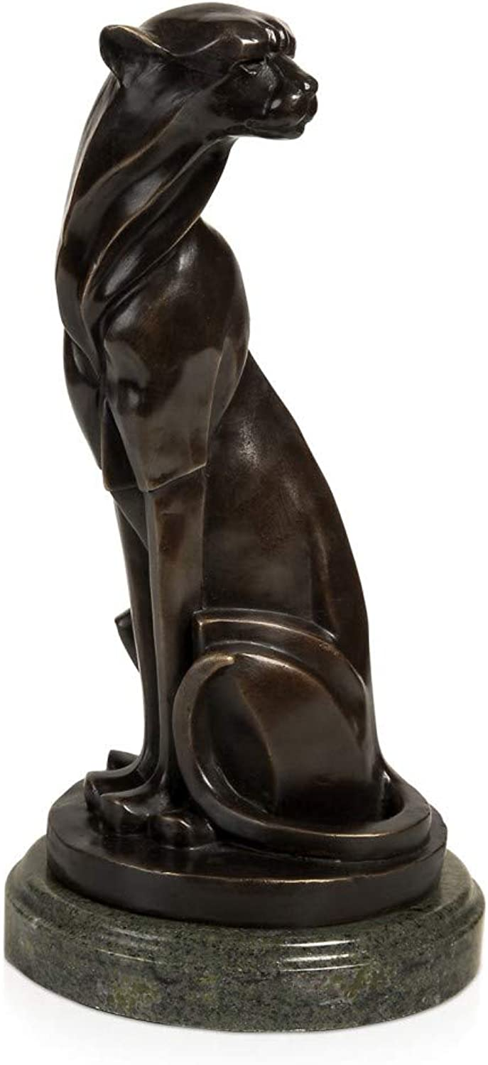 ADM Seated Jaguar Patinated bronze modern design sculpture with marble base SA295