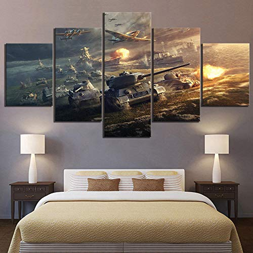ADGUH 5BilderLeinwanWohnkultur Leinwandbilder Wandkunstwerk 5 Panel World of Tanks Spiel Gemälde Drucke Poster Für Wohnzimmer 5 Drucke auf Leinwand