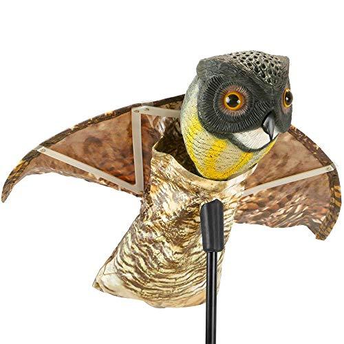 PrimeMatik - Ahuyentador de Aves Tipo Estatua búho con alas Que se mueven con el Viento