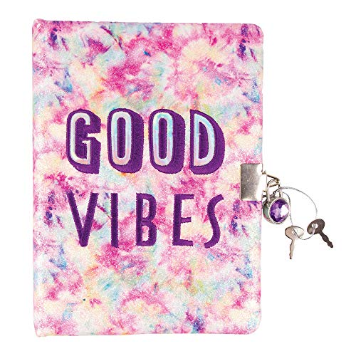 "Three Cheers for Girls - Good Vibes Tie Dye Spiral Locking Journal - Girls Diary with Lock and Key - 200 Page Pastel Tie Dye Secret Diary (6"" x 8"") with Gem Lock and 2 Keys"