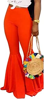 Women Bell Bottom Pants - Solid Color High Waisted Slim Fit Wide Leg Flare Pants