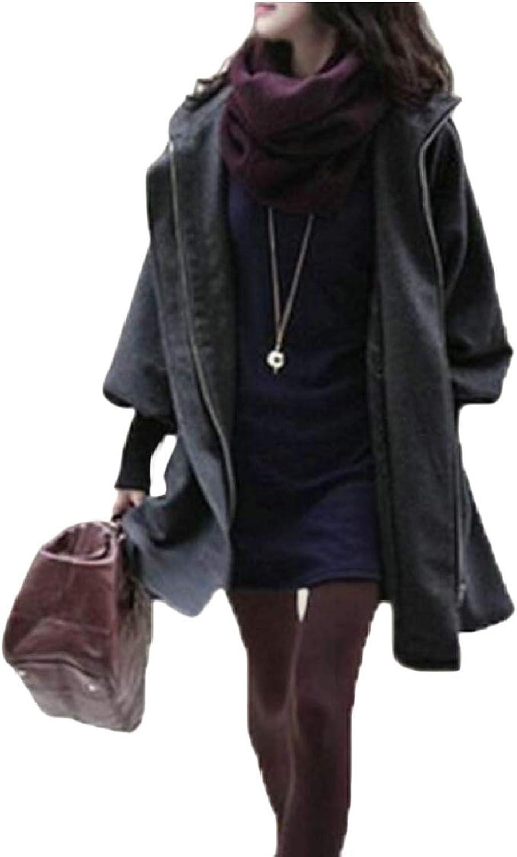 Jxfd Women's Warm Pea Coat Winter Hoodie Overcoat Outwear Jackets