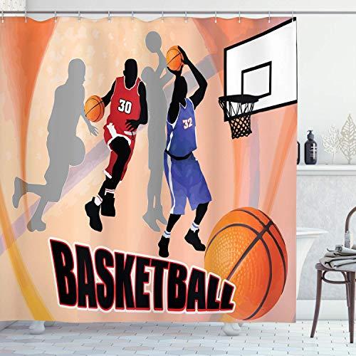 QDAS Basketbal douchegordijn, basketbal action-speler op abstracte achtergrond, klassieke poster-stijl, stof badkamerdecoratie met haak
