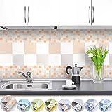 iKINLO Fliesenaufkleber Selbstklebende Klebefolie Mosaik Folie Küchenrückwand 0.61 * 5M PVC DIY Tapete Küchenfolie Dekofolie für Küchen Bädern Wand