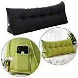 Large Bolster Triangular Positioning Support Reading Backrest Wedge Pillow for Headboard Triangular Wedge Cushion Bed Backrest Positioning with Removable Cover (S-39.37x19.68inch, Dark gray)