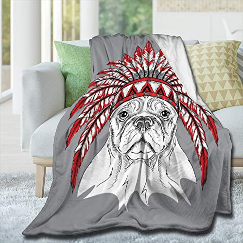 AIBILEEN Indian Style French Bulldog Flannel Blanket Soft Warm Fluffy Plush Cozy Throw Blanket, Microfiber Blankets for Bed Couch Chair Living Room Sofa Travel Cinema Beach Picnic Yoga 50'x40'