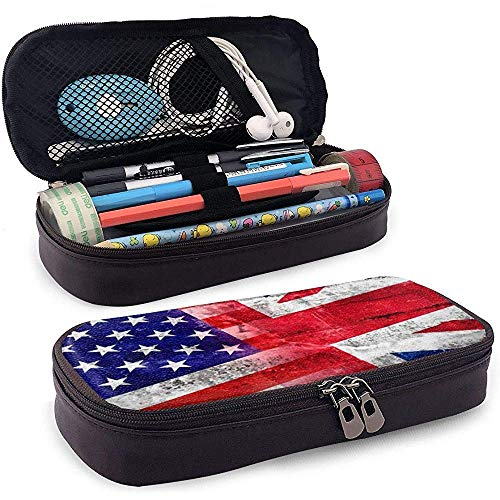 Pencil case USA and UK Flag Painted Pu Leather Pencil Case Waterproof Makeup Bag with Zipper Multifunctional Pen Pouch for Students