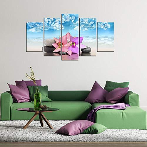YUANSAHN canvas print canvas frame Home Decor poster muurkunst moderne 5 panelen Spa stenen  en bloemen Boeddha Zen woonkamer schilderen