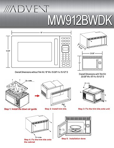 Advent MW912BWDK Black Built-in Microwave Oven with Wide Trim Kit PMWTRIM, Specially Built for RV Recreational Vehicle, Trailer, Camper, Motor Home etc., 0.9 cu.ft. capacity, 900 watts of cooking power and 10 adjustable power levels let you boil, reheat, defrost and more, 6 pre-programmed one-touch digital cook seetings let you easily prepare popcorn, pizza, frozen entrees or beverages at the touch of a button, Glass turntable rotates foods to provide even cooking