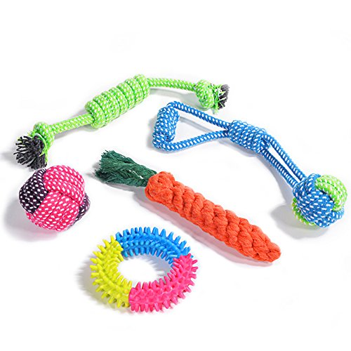 Juguetes para Perros, Puppy Chew Dog Rope Dentición Juguetes Interactivos, Corda Set di Denti Dentali Pulizia Giocattolo per Piccoli e Medi Cani - 5 Pack