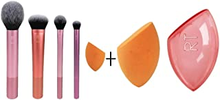 Real Techniques Makeup Brush Set with Travel Sponge Blender for Eyeshadow, Foundation, Blush, and...