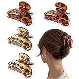 Detontek 4pcs Clips de Pelo de Garra de Plástico, Garras de Pelo Grandes Antideslizantes para Mujeres Niñas Hebillas de Pelo para Sujetar Pelo
