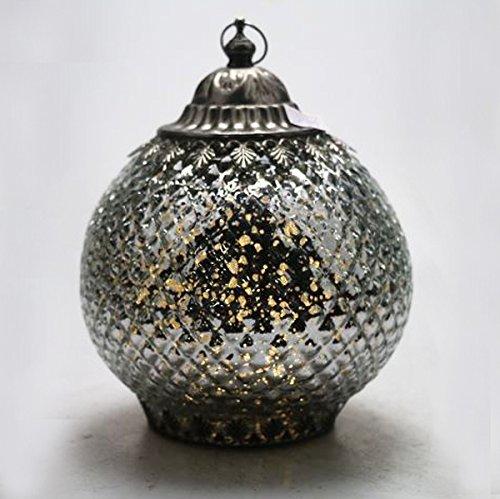 Lámpara de LED para colgar, diseño marroquí, color plateado