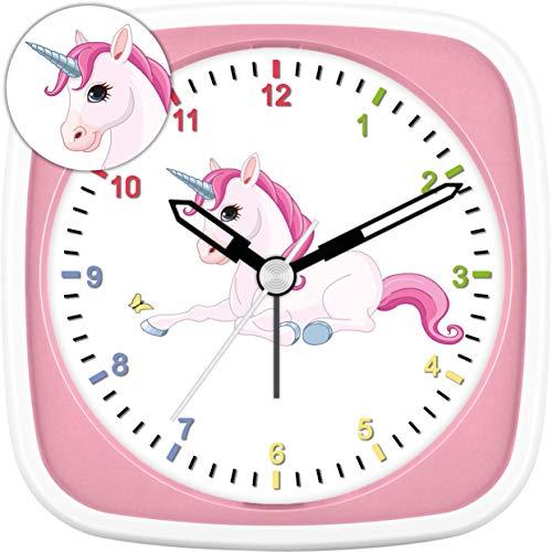 Eurotime Wecker für Mädchen mit Einhorn, Rosa Pink, Kinderwecker, Kunststoffgehäuse und Kunststoffglas, geräuscharmer Wecker, kein Ticken, mit Licht und Weckwiederholung, 27015-22