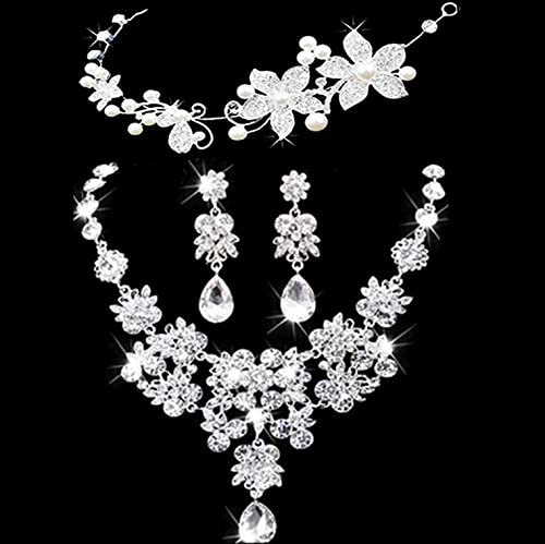 Bridal Jewelry Crown Necklace And Earring Set Tiara Rhinestone Wedding Accessories Bridal Crystal Jewelry Sets 002