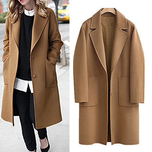 Women's Casual Long Sleeve Plus Size Lapel Outwear Trench Coat Cardigan (XX-Large, Brown)
