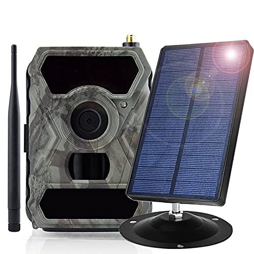 sZeao Panel Solar 1800 Mah con Cámara De Caza 5MP CMOS 1080P Visión Nocturna Infrarroja Activada por Movimiento 0.2S Velocidad De Disparo IP54 Impermeable para Observación De Vida Silvestre