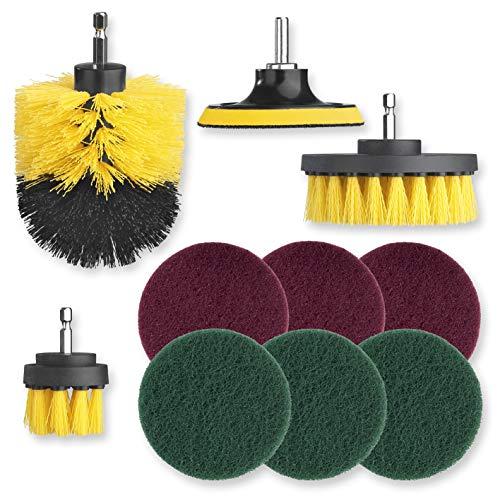 CLEANmaxx Bürstenaufsatz-Set für Bohrmaschine - 10-TLG. | für die Reinigung von Fliesen, Böden, Felgen | Entfernt selbst hartnäckigen Dreck | geeigent für nahzu jeden Akku-Schrauber [Mehrfarbig]