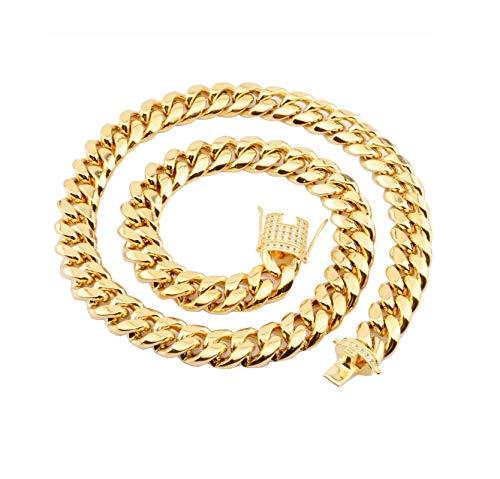 AueDsa Cadena para Collar Hombre,Cadena de Curb Cadena Collar de Acero Inoxidable Oro Collar Cadena Ancha 8MM Colgantes Cadena Larga 56CM