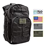 TLO Outdoors Tactical Rush Backpack - TacPack12 24L Storage Backpack [Black] with MOLLE System, Hydration Pocket, Plus Bonus Pack of Four SWAPPABLE Velcro Patches, Including 3 US Flags
