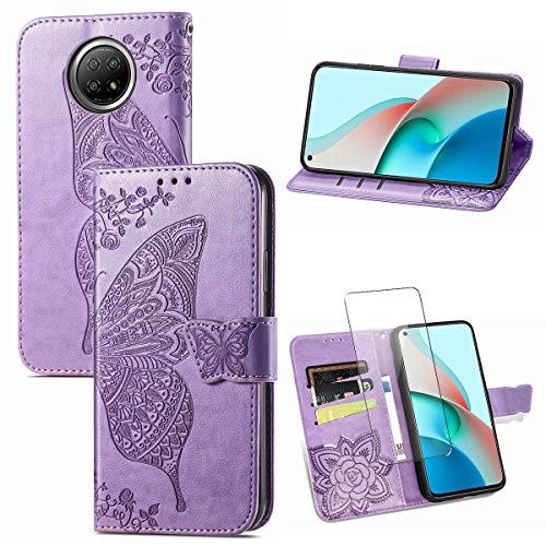 Hülle Kompatibel mit Xiaomi Redmi Note 9T 5G, Violett PU Leder Flip Brieftasche Schutzhülle mit EIN Gehärtetes Glas Schutzfolie Bildschirmschutzfolie für Xiaomi Redmi Note 9T 5G (6,53 Zoll)