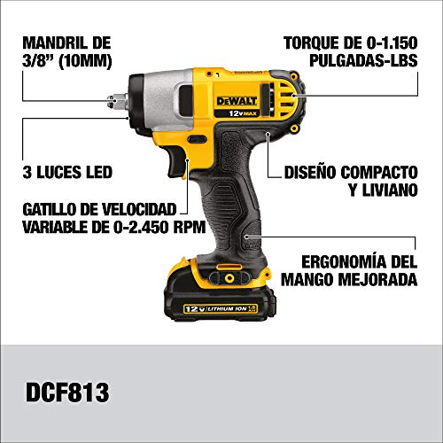 DEWALT 12V MAX Impact Wrench, Cordless, 3/8-Inch (DCF813S2)