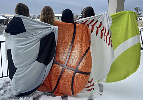 Sports Ball Throw Blanket Super Cozy Extra Soft 70 inch Round Kids Adults Lover Gift Tennis Basketball Soccer Baseball (Soccer Ball)