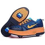 Wasnton Chaussures à roulettes, pour enfants, avec une ou deux roues rétractables, chaussures d'extérieur idéales pour faire du skate, du roller, pour garçons et filles - - Orange 1, 34 EU