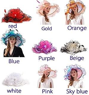 HBEI Hats for Women Fashion Organza Sun Hat Summer Wide Large Brim Beach Sombrero Big Flower Caps for Elegant Ladies (Sky Blue)