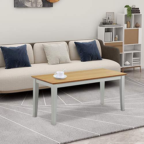 GOLDFAN Couchtisch Holz Moderner Tisch Rechteckiger Wohnzimmertisch Kaffetisch 90x40x40cm,Grau