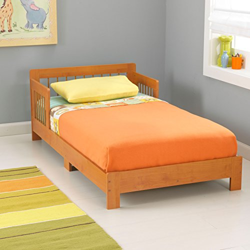 KidKraft Houston Wooden Toddler Bed with Side Rails and Spindle Headboard - Honey, Gift for Ages 15 mo+