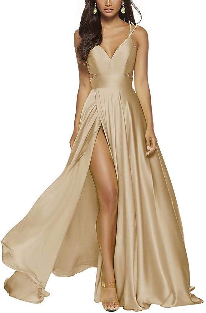 KUCCO Women's High Split A Line Prom Dresses Long Satin Evening Gowns Party Dresses